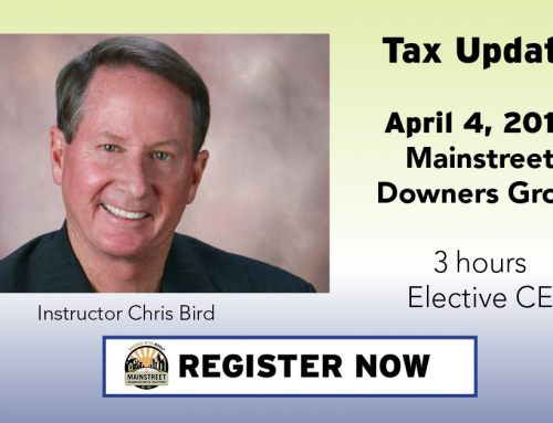 Tax Update CE course to be held in Downers Grove April 4 with instructor Chris Bird