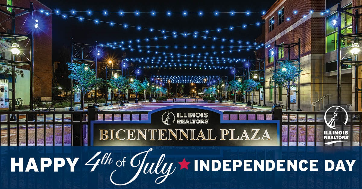 Blue lights decorate Bicentennial Plaza, just north of Illinois REALTORS offices in downtown Springfield.